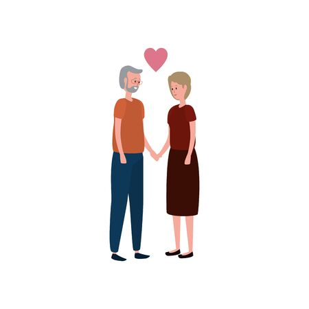 cute grandparents couple with heart vector illustration design