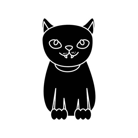 black cat halloween isolated icon vector illustration design