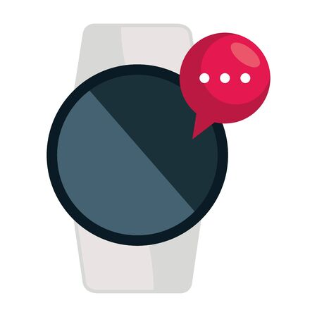 smartwatch technology with speech bubble vector illustration design