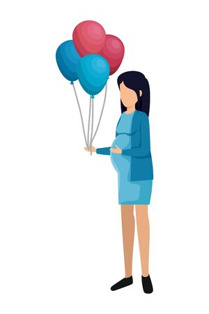 beautiful pregnancy woman with balloons helium vector illustration design
