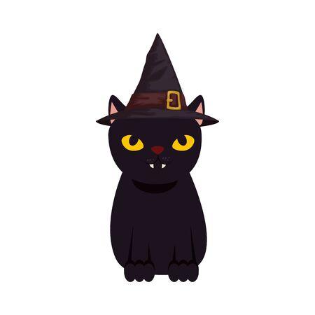 black cat halloween with hat witch vector illustration design Archivio Fotografico - 134437555