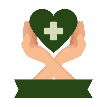 hands protecting medical heart with cross vector illustration design  イラスト・ベクター素材