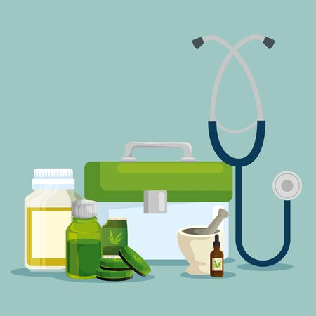 cannabis medicine oil bottles with ointment and stethoscope vector illustration