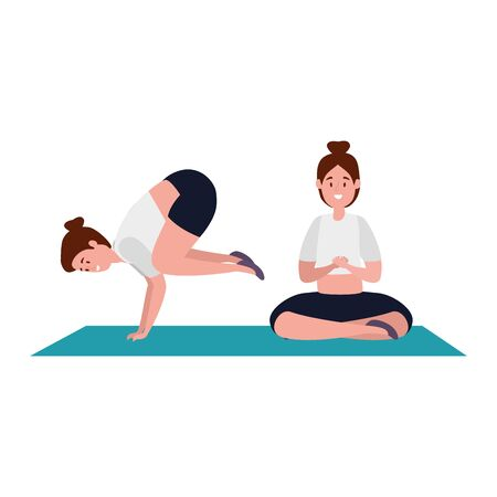 beauty girls practicing pilates position in mattress vector illustration design  イラスト・ベクター素材