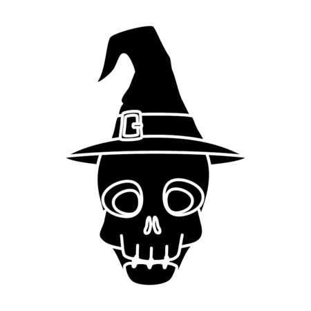 skull halloween with hat witch isolated icon vector illustration design