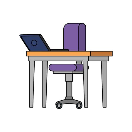 office chair with desk and laptop vector illustration design