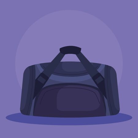 sport bag and healthy balance activity over purple background, vector illustration