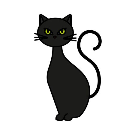Katze katzenartiges Tier des Halloween-Vektorillustrationsdesigns