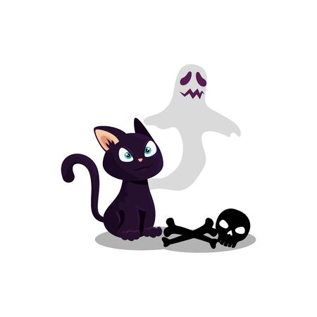 halloween ghost with cat and skull vector illustration design