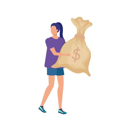 young woman with money bag character vector illustration design Vectores