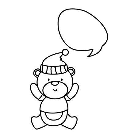 little bear teddy with hat and speech bubble vector illustration design Illustration