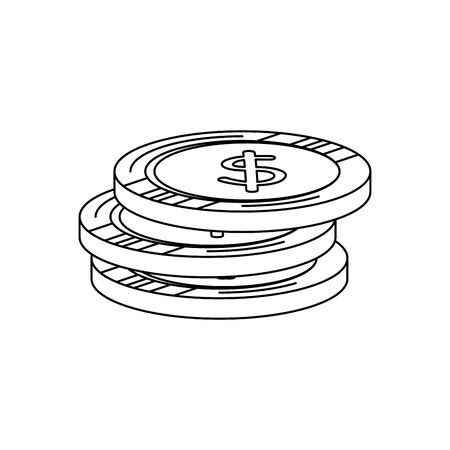 coins money dollars isolated icons vector illustration design  イラスト・ベクター素材
