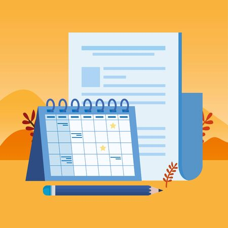 paper document file with calendar vector illustration design