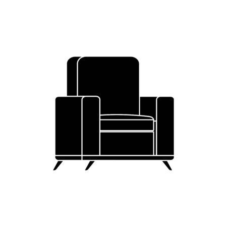 silhouette di mobili comodo divano isolato icona illustrazione vettoriale design