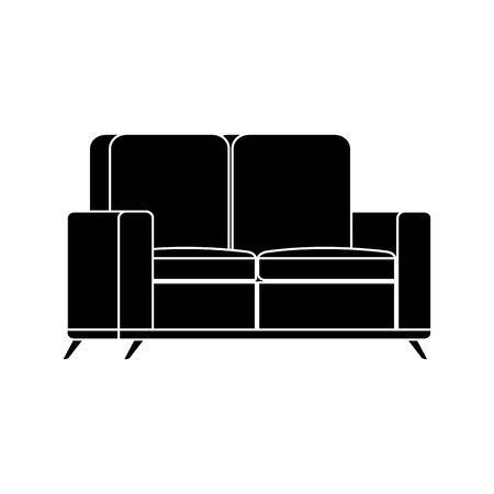 silhouette of furniture comfortable sofa isolated icon vector illustration design