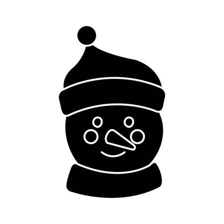 silhouette of face snowman character merry christmas vector illustration design Foto de archivo - 134440981