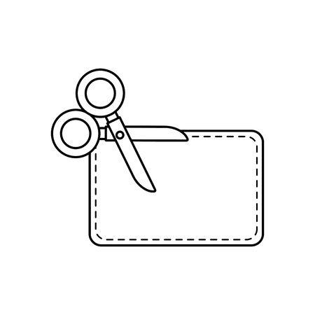 scissor utensil with paper line style icon vector illustration design