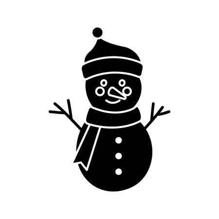 silhouette of snowman character merry christmas vector illustration design Foto de archivo - 134440997