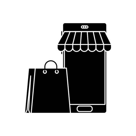 silhouette of smartphone with parasol and bag shopping vector illustration design
