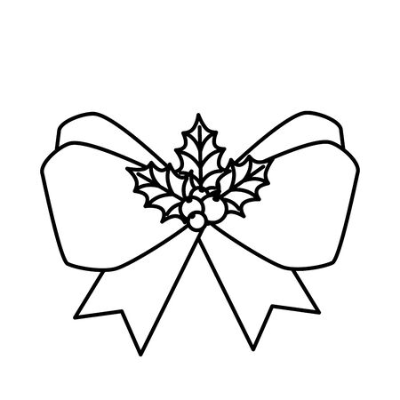 bow ribbon christmas with seeds and leafs line style icon vector illustration design Иллюстрация