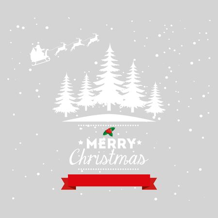 merry christmas poster with winter landscape vector illustration design