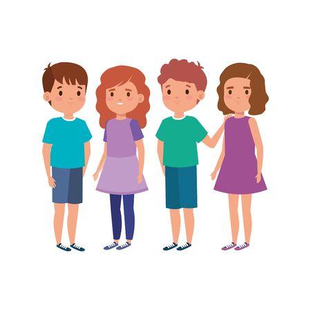cute little children avatar character vector illustration design Vector Illustration