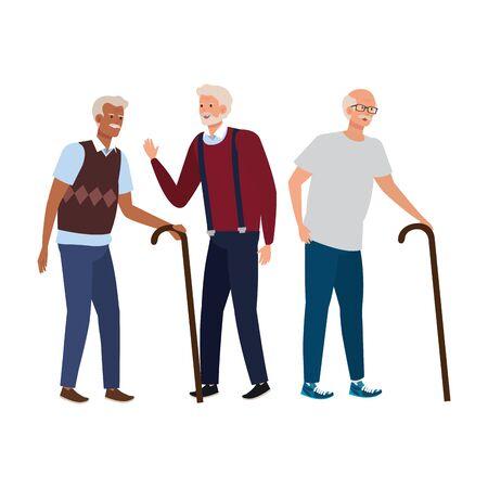old men elegant avatar character vector illustration design