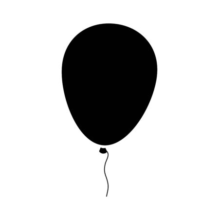 silhouette of balloon helium isolated icon vector illustration design