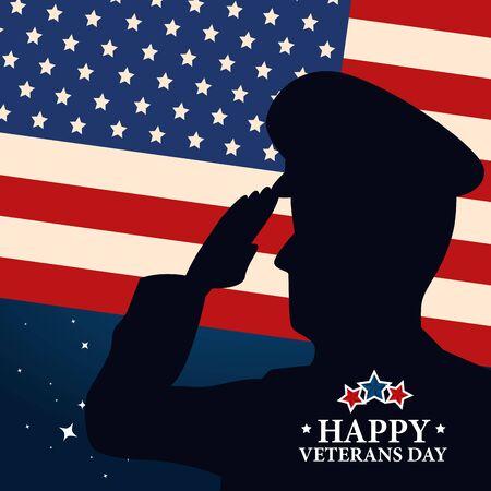 Joyeuse fête des anciens combattants avec silhouette militaire et drapeau vector illustration design