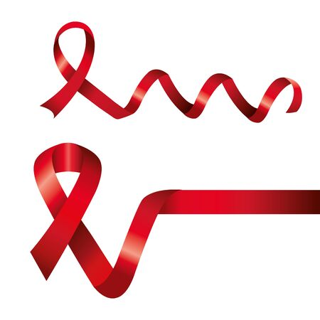 set of aids day awareness ribbons isolated icon vector illustration design