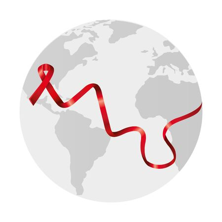 aids day awareness ribbon with planet earth vector illustration design