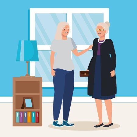 group of old women indoor house scene vector illustration design Illustration