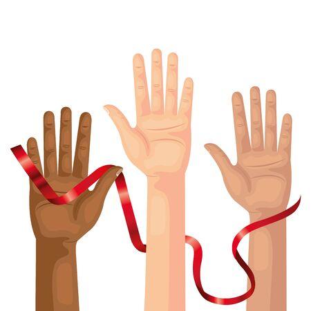 hands with aids day awareness ribbon vector illustration design 版權商用圖片 - 134486293