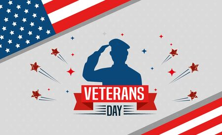 veterans day celebration with military and stars vector illustration design