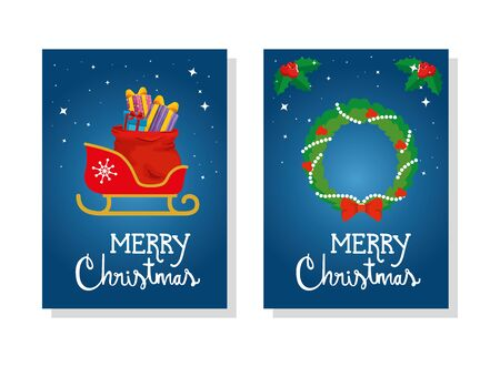 set poster of merry christmas with sled and crown decoration vector illustration design  イラスト・ベクター素材