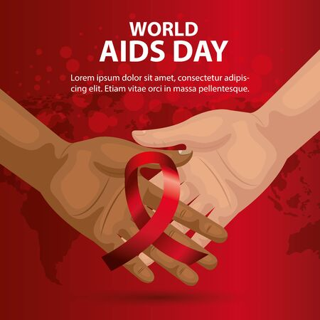 poster of world aids day with hands and ribbon vector illustration design