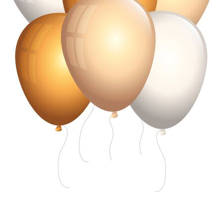 set of balloons helium golden and white vector illustration design 写真素材 - 134486987