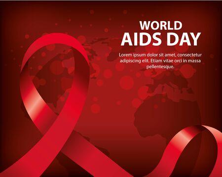 poster of world aids day with ribbon vector illustration design Vektorové ilustrace