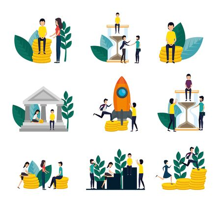 bundle of business people with set icons vector illustration design Standard-Bild - 134488657