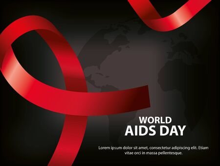 poster of world aids day with ribbon vector illustration design
