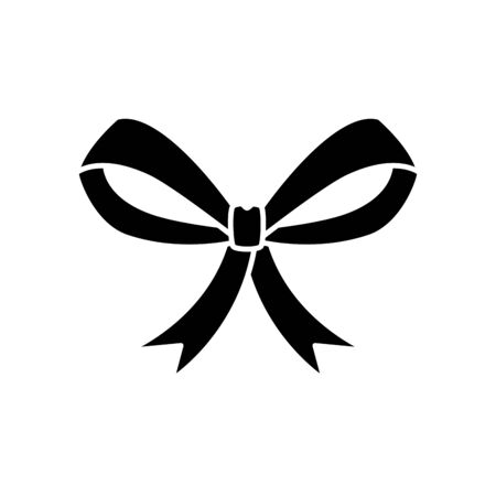 silhouette of bow ribbon christmas decorative isolated icon vector illustration design