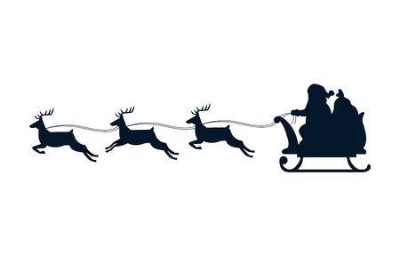 silhouette of sled santa claus with reindeer isolated icon vector illustration design Illusztráció