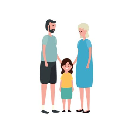 cute grandparents couple with granddaughter vector illustration design