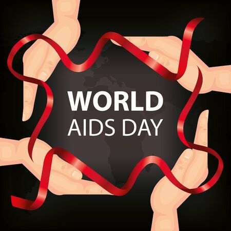 poster of world aids day with hands and ribbons vector illustration design