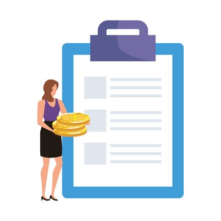 young woman with checklist and money vector illustration design Иллюстрация