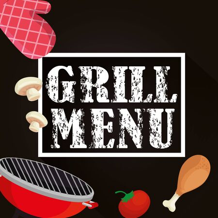 grill menu with oven and delicious food vector illustration design Illustration