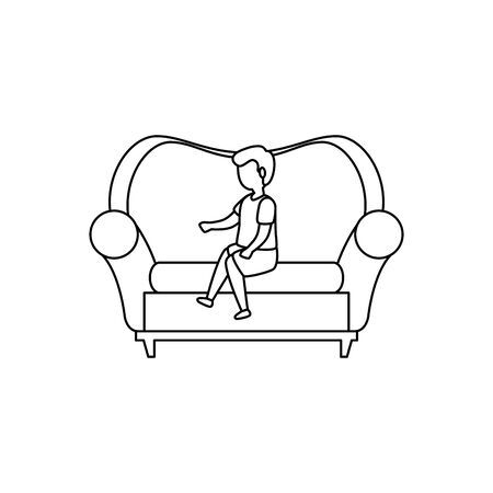 cute little boy seated in sofa vector illustration design