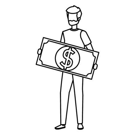 man lifting bill money dollar character vector illustration design
