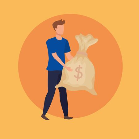 young man with dollars bag character vector illustration design Çizim