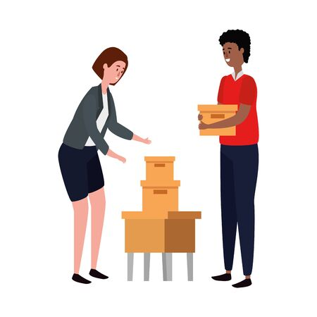 elegant business couple workers lifting boxes vector illustration design